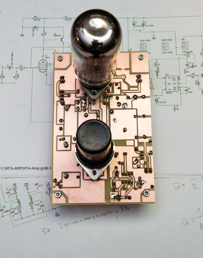 Power amplifier board from the tube side