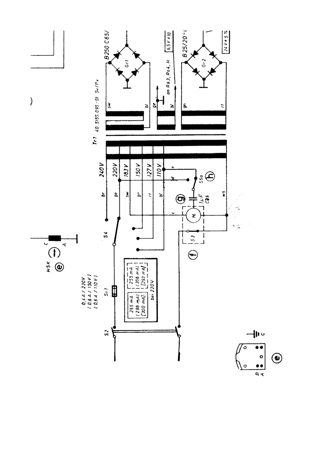 trafo Stromlaufplan Bandmaschine Telefunken